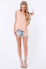 Drops of Dew Beaded Peach Top at Lulus.com!