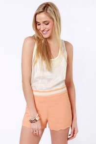 Wave Your Rights Scalloped Peach Shorts at Lulus.com!