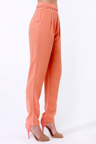 Living the High Life Coral High-Waisted Pants at Lulus.com!