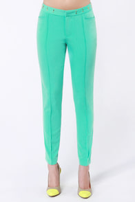 The Fairer Slacks Studded Mint Green Pants at Lulus.com!