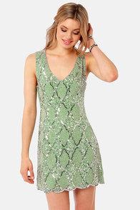 TFNC Abria Sage Green Sequin Dress