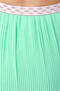 Pleat Retreat Pleated Mint Blue Maxi Skirt at Lulus.com!