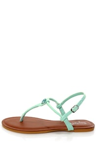 Morris 83 Mint Rhinestone T-Strap Thong Sandals at Lulus.com!