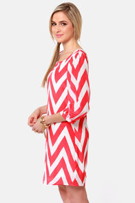 Pack Your Zigzags Coral Pink Chevron Print Dress at Lulus.com!
