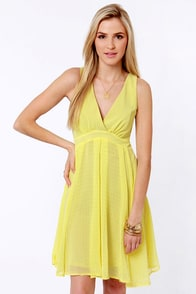 Sipping Punch Yellow Dress at Lulus.com!