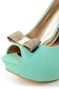 Chic 7 Light Blue and Glitter Fabric Peep Toe Platform Pumps at Lulus.com!