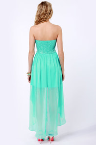 Glisten to This Strapless Teal Sequin Dress at Lulus.com!