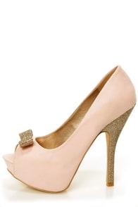Chic 7 Light Pink and Glitter Fabric Peep Toe Platform Pumps