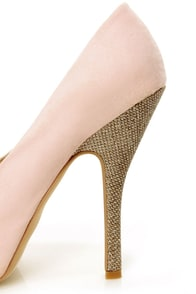 Chic 7 Light Pink and Glitter Fabric Peep Toe Platform Pumps at Lulus.com!