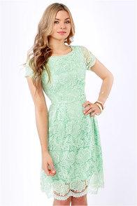 Genteel Breeze Backless Mint Lace Dress