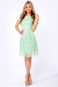 Genteel Breeze Backless Mint Lace Dress at Lulus.com!