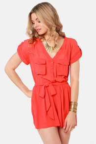 Surfing Safari Coral Red Romper