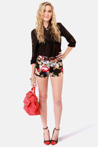 Tripp NYC Cross Stitch Print Shorts at Lulus.com!