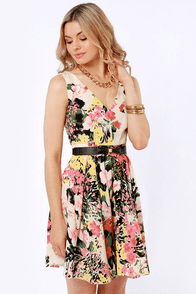 Darling Ashley Belted Floral Print Dress