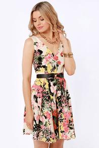 Darling Ashley Belted Floral Print Dress