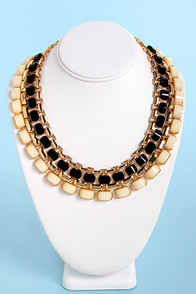 Hot Under the Collar Black and Beige Necklace