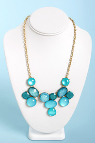 Set in Stones Blue Statement Necklace at Lulus.com!