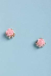 Rose is Me Pink Rose Earrings at Lulus.com!