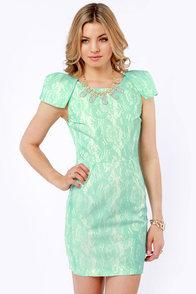 Don't Speak Mint Green Lace Dress