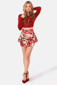 Wild Ones Floral Print Peplum Skirt at Lulus.com!