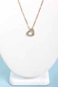 Heart of Rhine-Stone Heart Gold Pendant Necklace