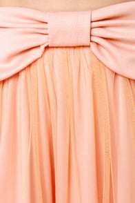 LULUS Exclusive Bow Pro Peach Skater Skirt at Lulus.com!