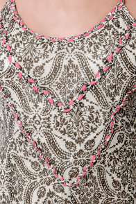 Roxy World Waiting Grey Damask Print Maxi Dress at Lulus.com!