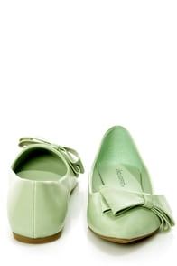City Classified Doran Mint Side Bow Pointed Flats at Lulus.com!