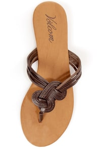 Volcom Happy Me Brown Leather Knotty Thong Sandals at Lulus.com!
