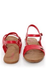 Volcom Trust Me Red Slingback Flat Sandals at Lulus.com!