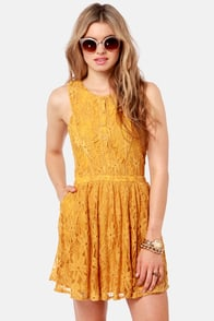 Lucca Couture Plant a Seed Mustard Yellow Lace Dress