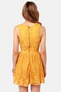 Lucca Couture Plant a Seed Mustard Yellow Lace Dress at Lulus.com!