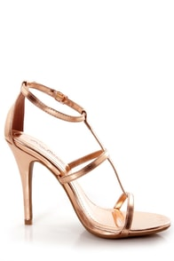 Anne Michelle Enzo 17 Rose Gold Metallic T-Strap Heels at Lulus.com!