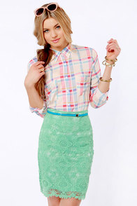 Laced Night on Earth Mint Pencil Skirt