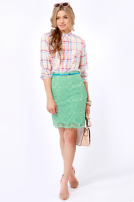 Laced Night on Earth Mint Pencil Skirt at Lulus.com!