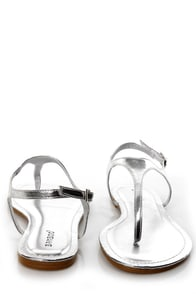 Bamboo Morris 78 Silver Metallic Thong Sandals at Lulus.com!