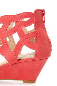 Bamboo Matthew 02 Coral Cutout Wedge Sandals at Lulus.com!