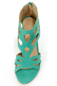 Bamboo Matthew 02 Sea Green Cutout Wedge Sandals at Lulus.com!