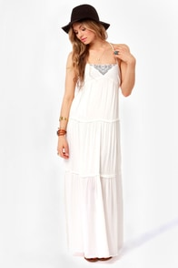 Quiksilver Chula Vista Embroidered Ivory Maxi Dress at Lulus.com!
