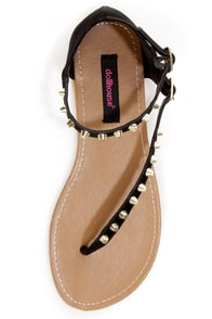 Dollhouse Sky Black Studded Thong Sandals at Lulus.com!