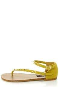 Dollhouse Sky Mustard Yellow Studded Thong Sandals
