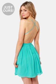LULUS Exclusive Just Dance Backless Aqua Lace Dress at Lulus.com!