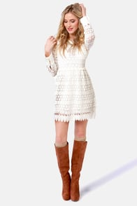 Gerbera Baby Crocheted Ivory Dress at Lulus.com!