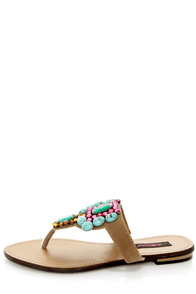 Dollhouse Cruisin Nude Gemstone Embellished Thong Sandals