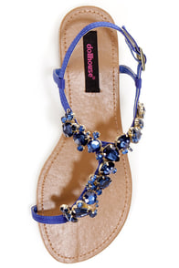 Dollhouse Radiant Indigo Blue Rhinestone Studded Thong Sandals at Lulus.com!