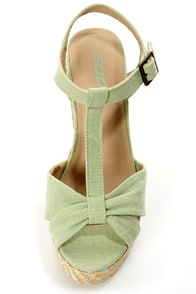 Soda Kose Mint Linen T-Strap Platform Wedge Sandals at Lulus.com!