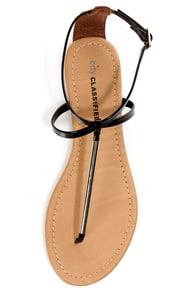 City Classified Elaine Black Patent and Gold Thong Sandals at Lulus.com!