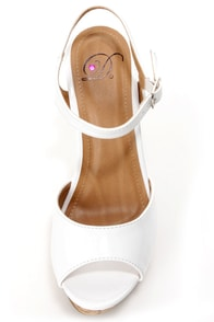 My Delicious Life White Patent Platform Wedge Sandals at Lulus.com!