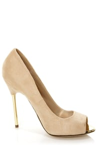 My Delicious Dash Oatmeal Beige and Gold Peep Toe Pumps at Lulus.com!
