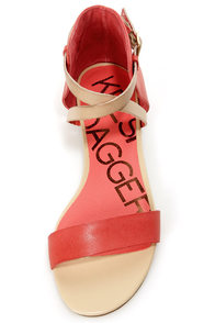 Kelsi Dagger Kacie Coral and Beige Leather Flat Sandals at Lulus.com!
